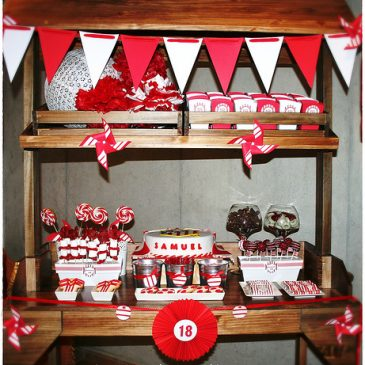 Fiesta 18 años. Sweet Table Red&White.